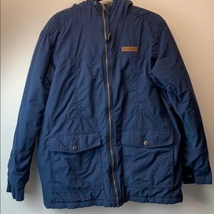 Columbia navy blue jacket with hood L